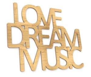 Napis na ścianę Love dream music