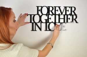 Forever together in love - napis 3d na ścianę